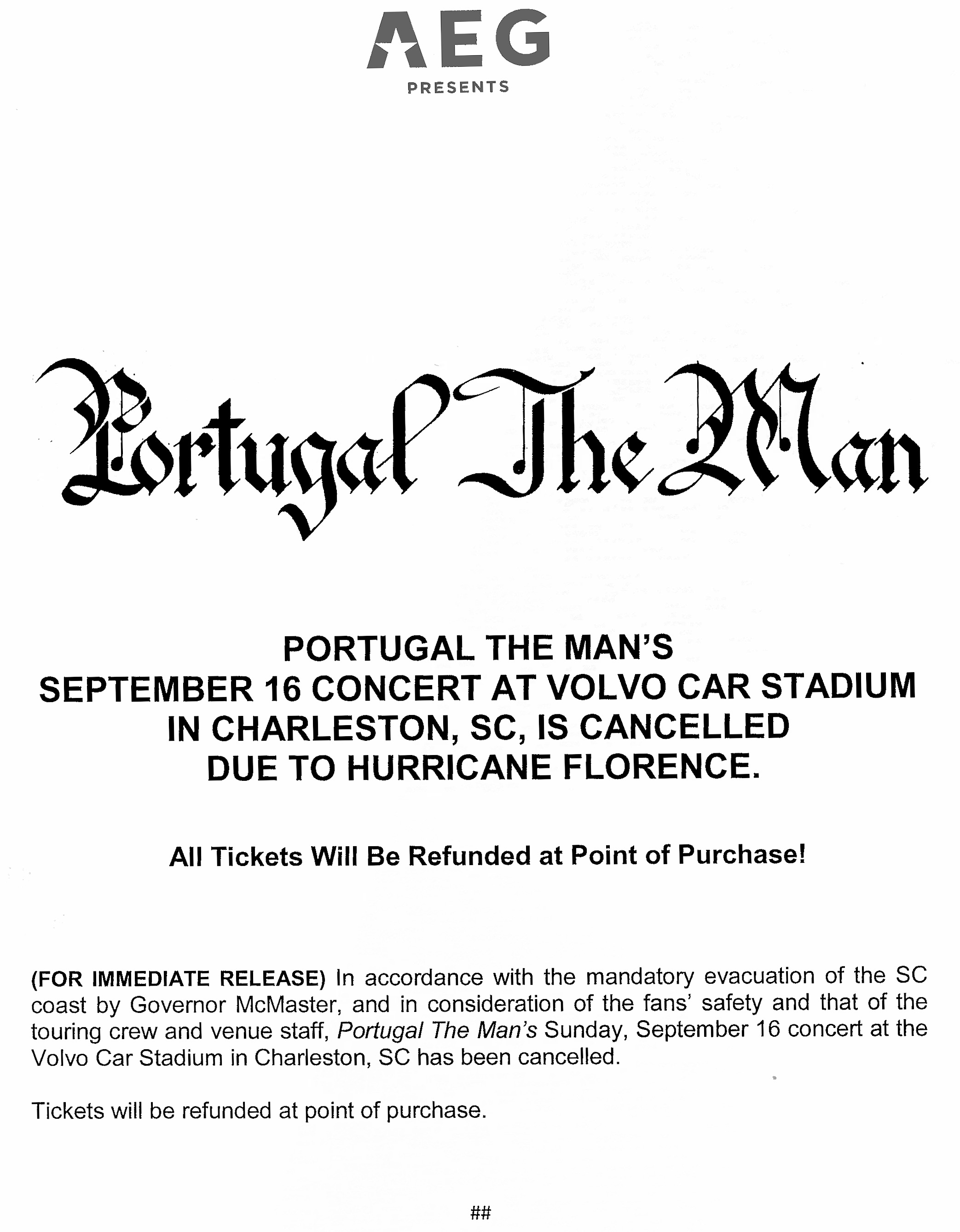 Cancelled Portugal The Man Concert Sept 16 At Volvo Car Stadium